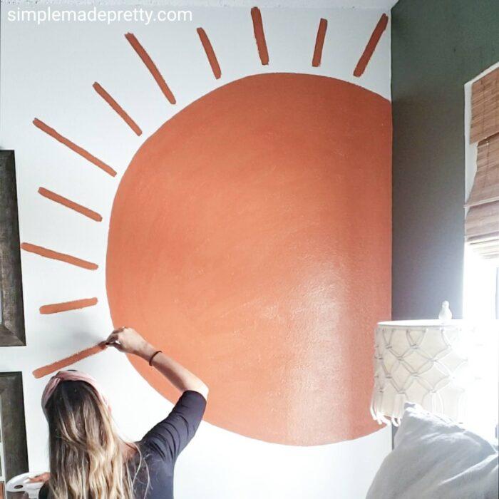 painted sun wall murals