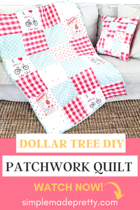 DIY Dollar Tree Blanket Quilt