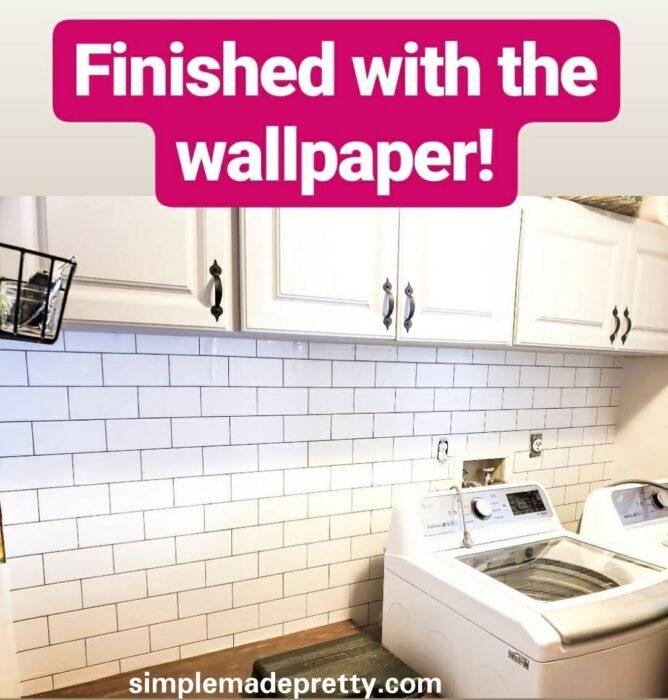 DIY laundry room update wallpaper tile