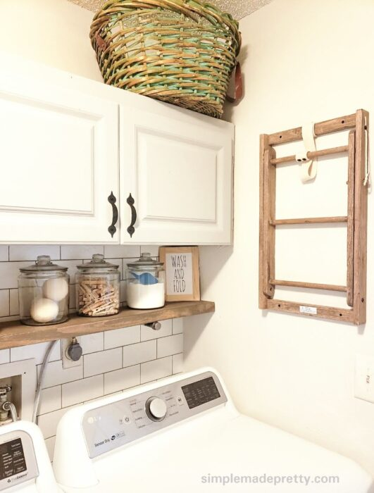 Laundry room wood shelf cabinet