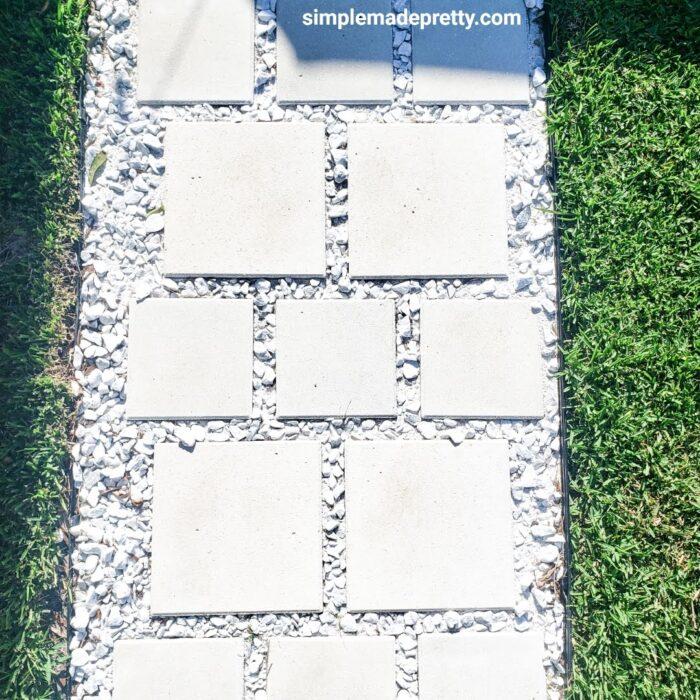 DIY Paver Walkway with rocks