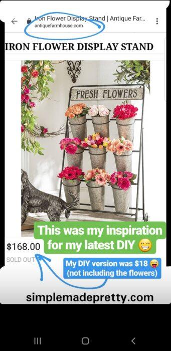 DIY dollar tree flower rack