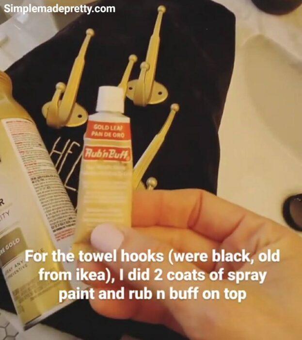 gold rub n buff on towel hooks