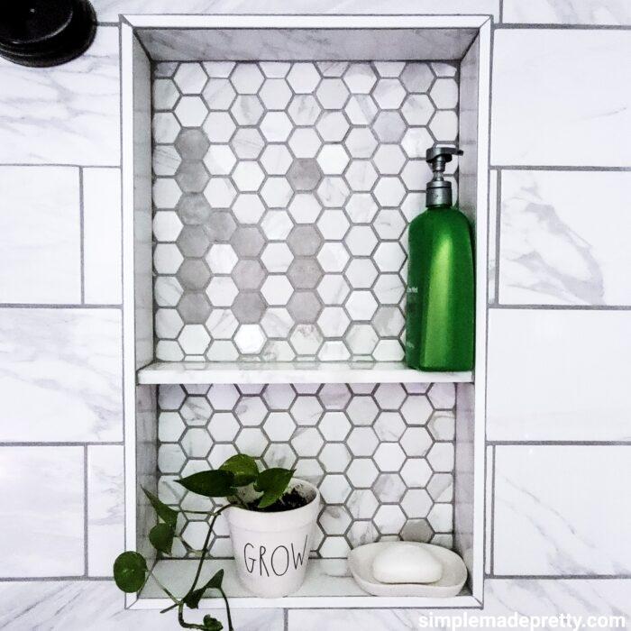hi message in tile bathroom shower wall tile