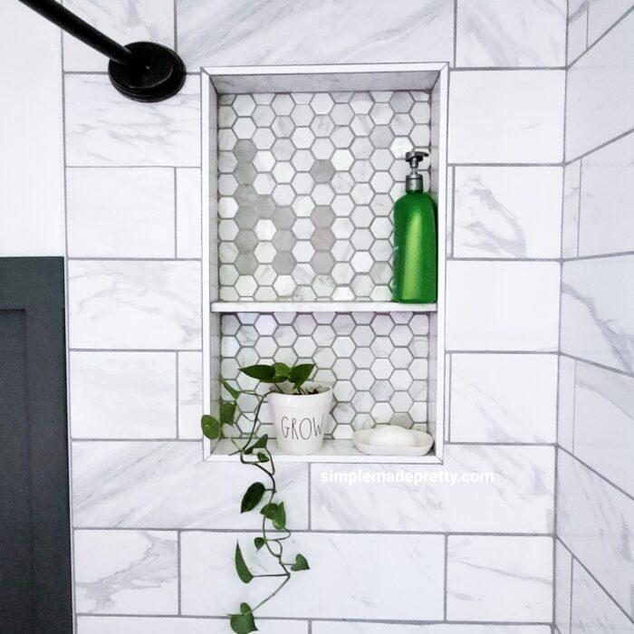 shower tile window box shelf