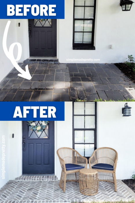 Before and After Old Mill Brick Porch