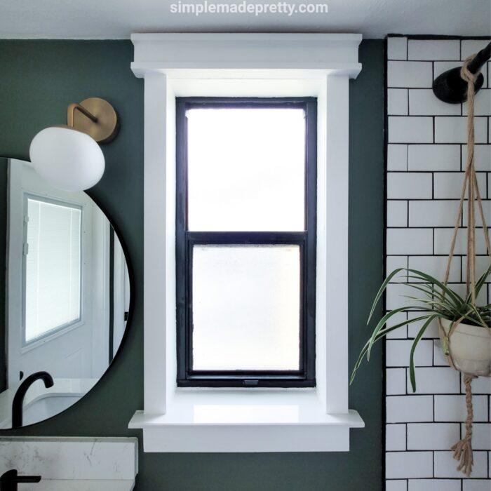 DIY bathroom window frame