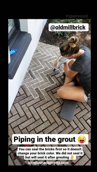 DIY herringbone brick porch