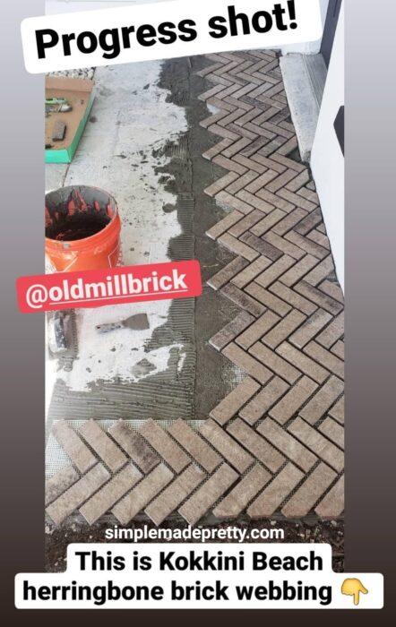 how to install a herringbone brick patio