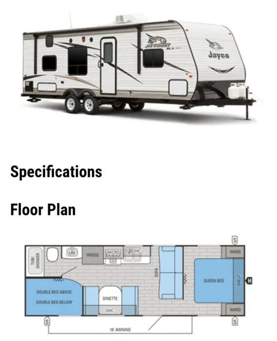 2016 Jayco Jay Flight Travel Trailer floor plan 264BHW