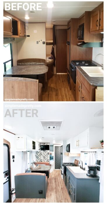 Before and After Travel Trailer Remodel