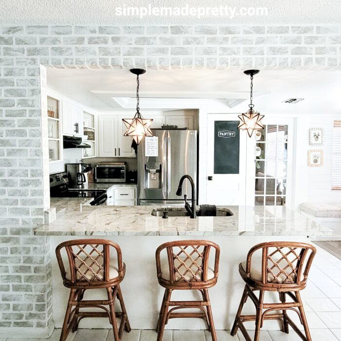 Rattan bar stools farmhouse kitchen decor