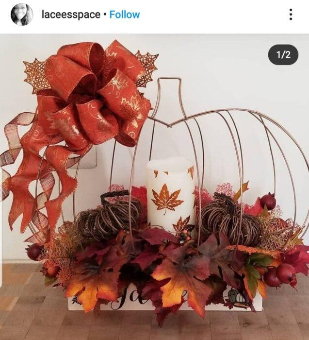 fall leaves pumpkin wreath form