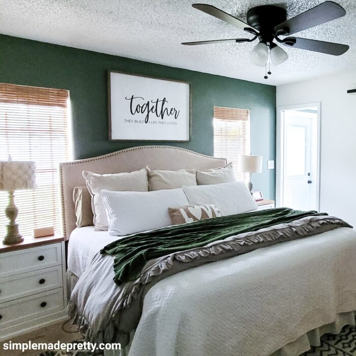 green bedroom accent wall