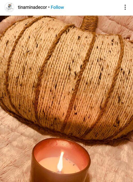 pumpkin wreath form wool