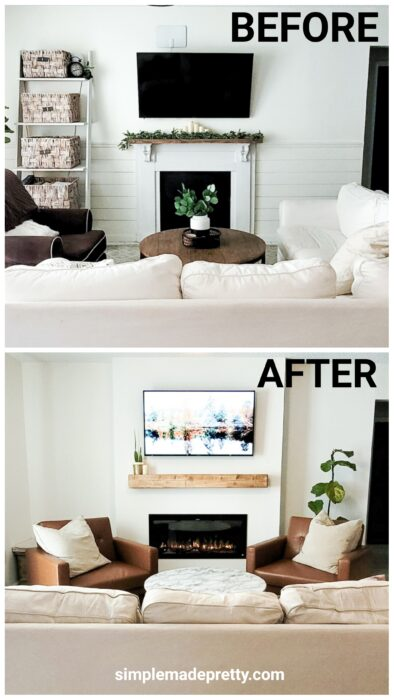 Fireplace DIY before and after - faux fireplace to electric fireplace