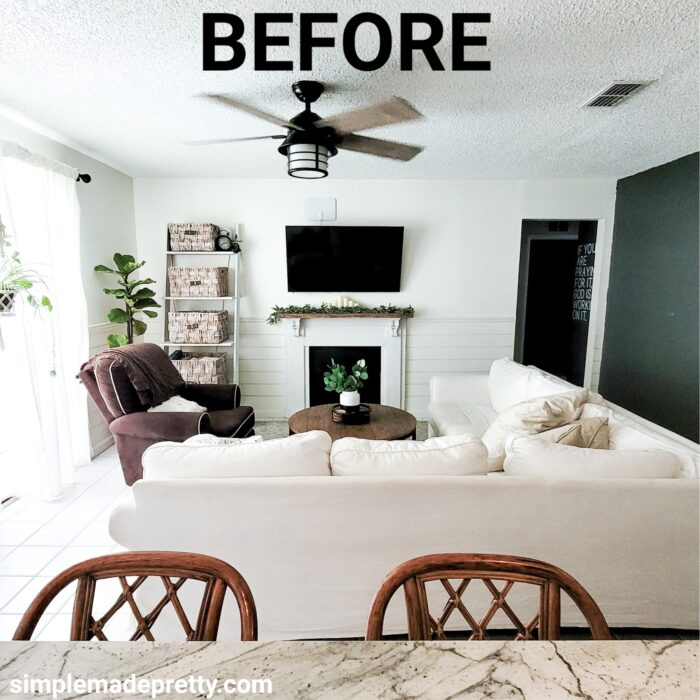 faux fireplace to electric firplace before and after