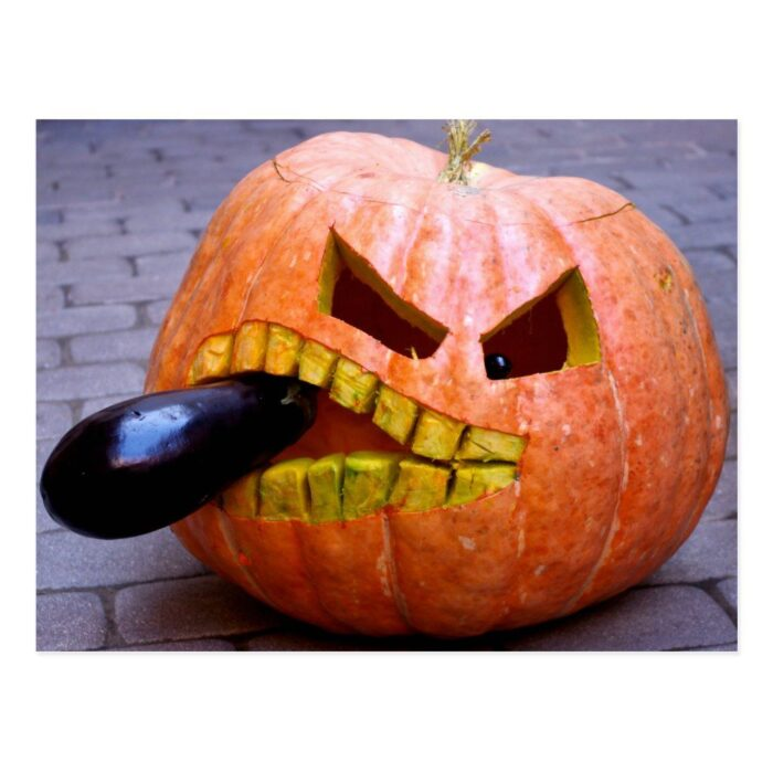 Halloween Pumpkin Carving Eggplant