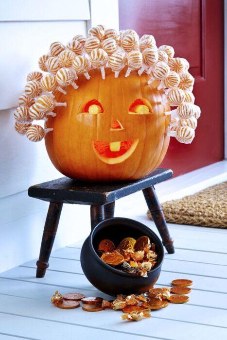 Halloween Pumpkin Carving Ideas candy pumpkin hair