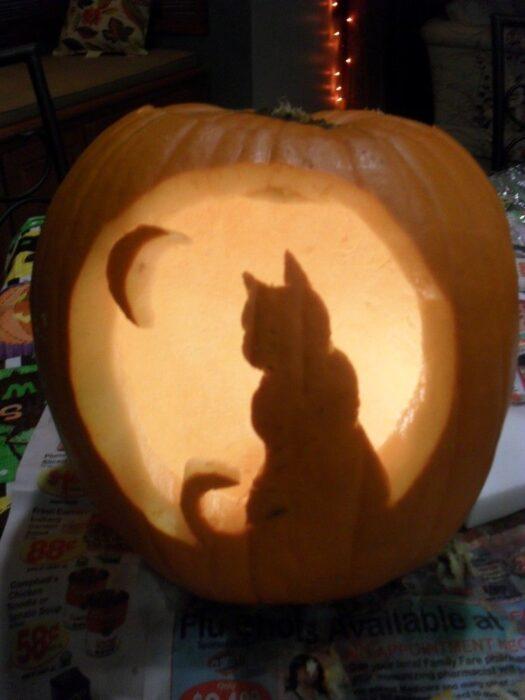 Halloween Pumpkin Carving Ideas cat pumpkin