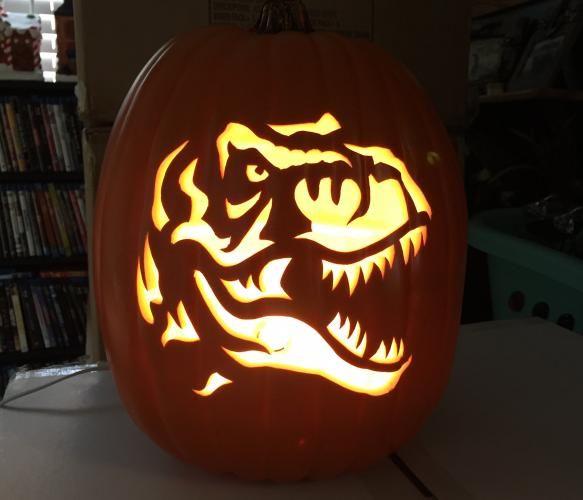 Halloween Pumpkin Carving Ideas jurassic trex