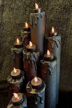 Pool Noodle Halloween Hacks black melted candle