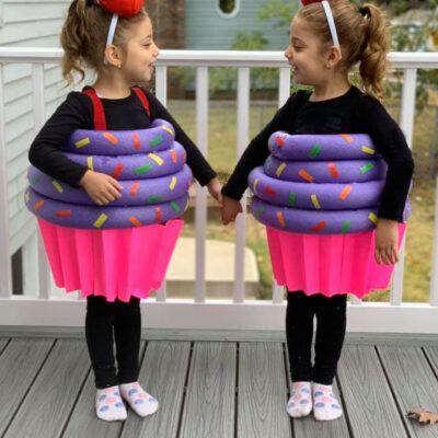 Pool Noodle Halloween Hacks cupcake costume