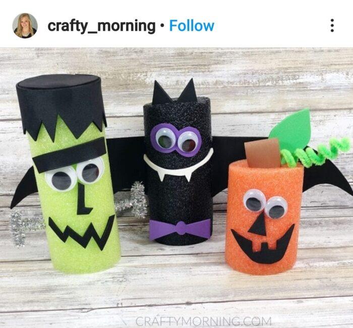 Pool Noodle Halloween Hacks cute characters