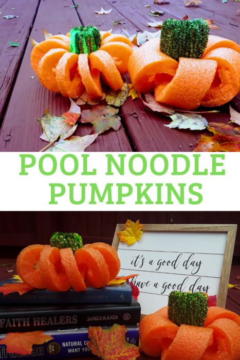 Pool Noodle Halloween Hacks pumpkin
