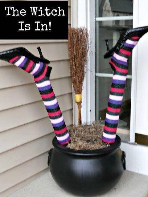 Pool Noodle Halloween Hacks witch legs in pot