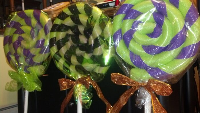 Pool noodle Halloween lollipops